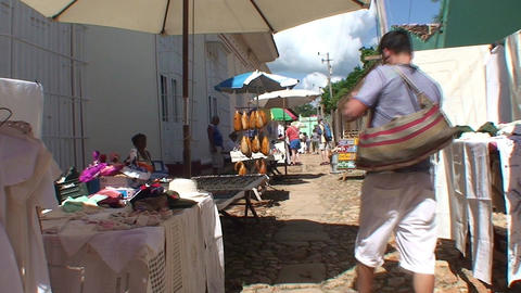 Trinidad Streetview market 2 Stock Video Footage