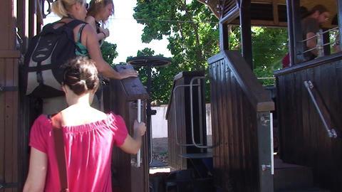 Trinidad Trainstation passengers go on the train Stock Video Footage