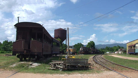 Trinidad Trainstation with old trains Stock Video Footage