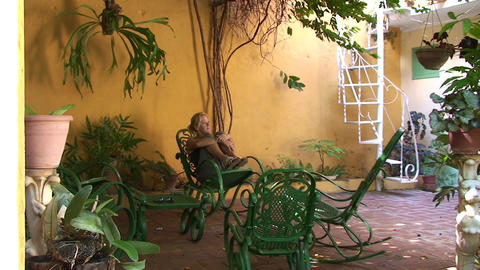 Trinidad Woman in typical cuban rocking chair Stock Video Footage