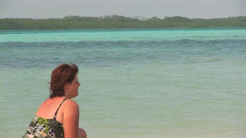 Woman in ocean Stock Video Footage