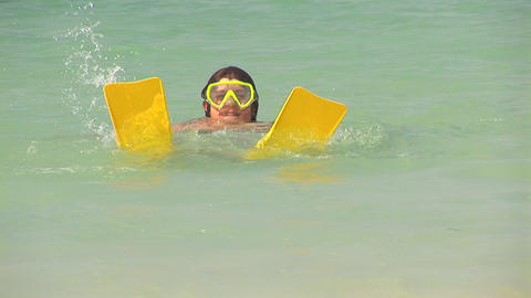 Girl snorkeling Stock Video Footage