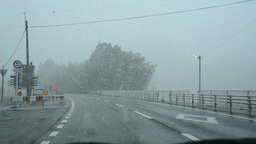 Driving through heavy snow fall in Japan Stock Video Footage