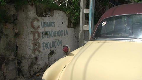 Cuba CDR drawing on wall oldtimer Stock Video Footage