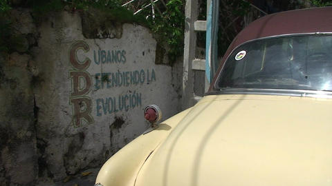 Cuba CDR Drawing On Wall Oldtimer stock footage