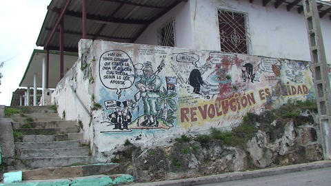 Cuba Freedom drawing on wall 2 Stock Video Footage