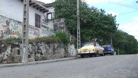 Cuba Freedom drawing on wall oldtimers Stock Video Footage