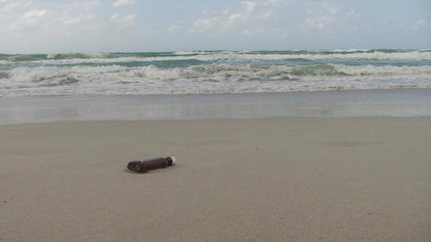 Cuba Message in a bottle at the sea 2 Footage