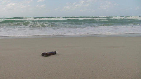 Cuba Message in a bottle at the sea 2 Stock Video Footage
