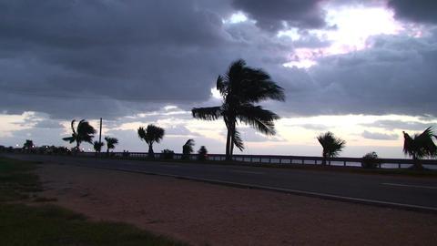 Cuba Sunrise street with cars Stock Video Footage