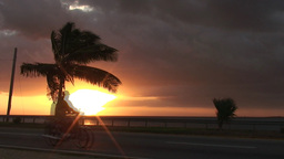 Cuba Sunrise street with cars 7 Stock Video Footage
