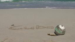 Varadero Cuba written in sand at the beach 2 Stock Video Footage