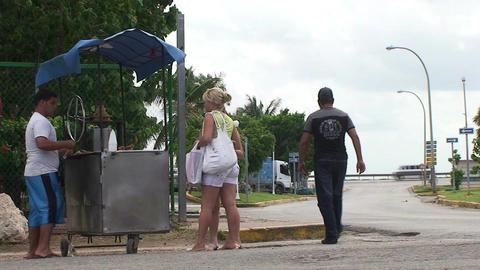 Varadero Food stall with costumers Stock Video Footage