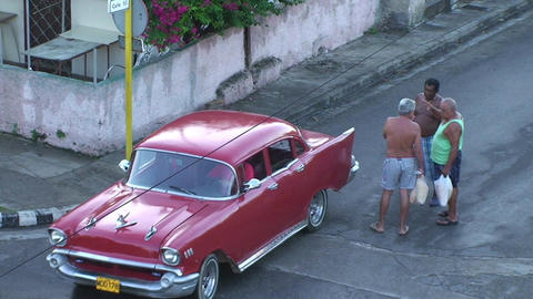 Varadero oldtimer on the street from above Footage
