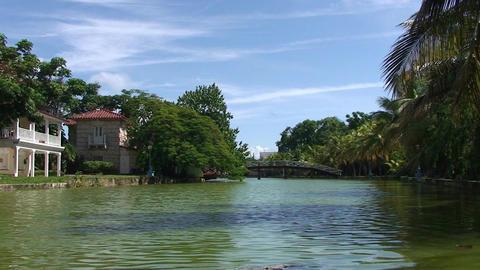 Varadero park with pond and bridge Stock Video Footage