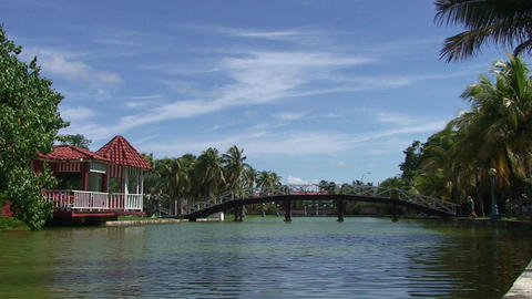 Varadero park with pond and bridge 3 Stock Video Footage