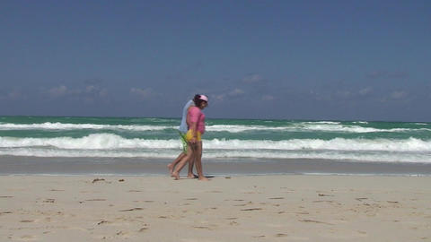 Varadero People passing by at sea and beach Footage