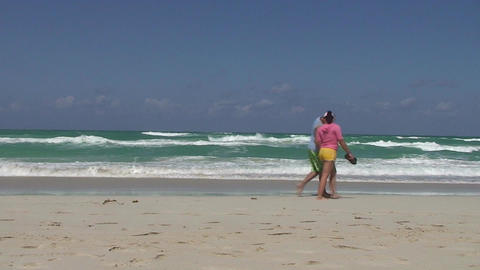 Varadero People passing by at sea and beach Stock Video Footage