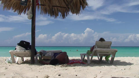 Varadero relaxing at the beach Stock Video Footage