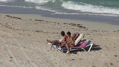 Varadero relaxing at the beach 3 Stock Video Footage