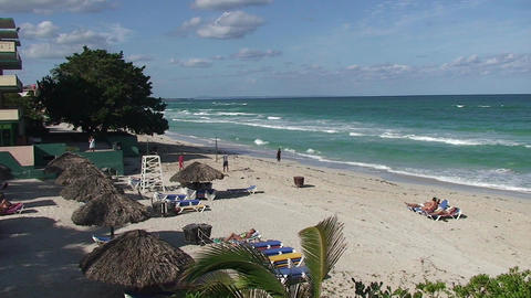 Varadero relaxing at the beach 5 Stock Video Footage