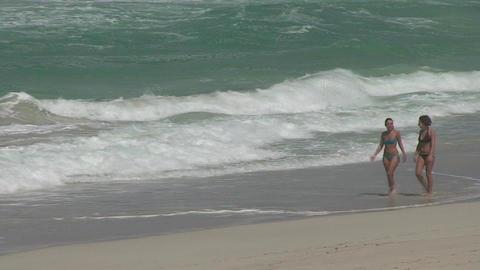 Varadero Sexy girls walking on the beach 5 Stock Video Footage