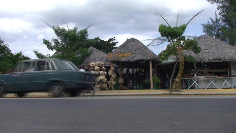 Varadero Streetview with souvenirshop Stock Video Footage