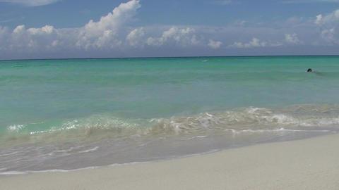 Varadero women in the blue sea Stock Video Footage