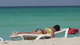 Varadero women sunbathing at the beach Stock Video Footage