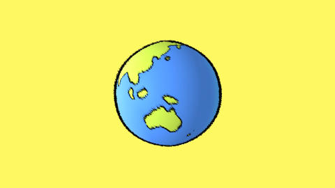 earth map with yellow background Stock Video Footage