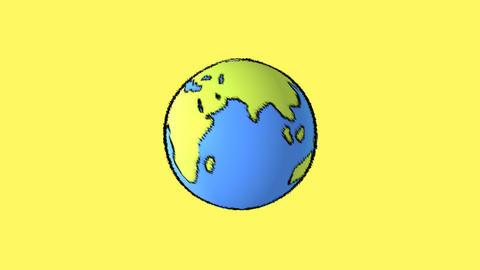 earth map with yellow background Animation