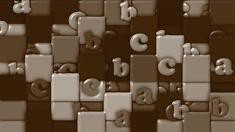 chocolate cartoon alphabet paper card on square mosaics,Children spelling game Animation
