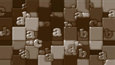 chocolate cartoon alphabet paper card on square... Stock Video Footage