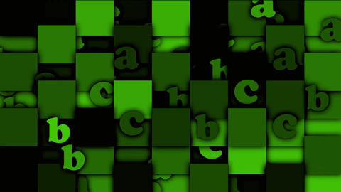 green cartoon alphabet paper card on square... Stock Video Footage