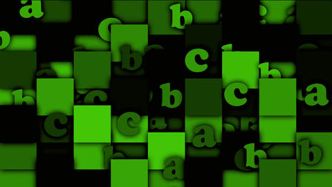 green cartoon alphabet paper card on square mosaics,Children spelling game Animation