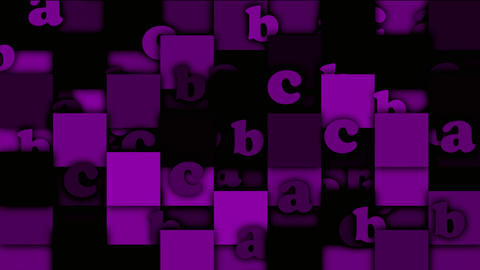 purple cartoon alphabet paper card on square mosaics,Children spelling game Animation