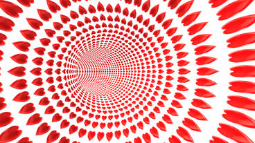 flying in red heart pattern tunnel hole Animation