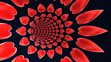 flying in red heart pattern tunnel hole Stock Video Footage
