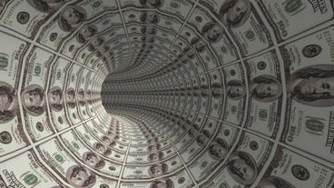 100 dollar background tunnel hole Stock Video Footage
