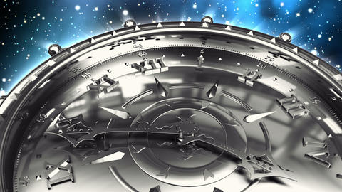 Silver Clock and Spinning Galaxy Stock Video Footage