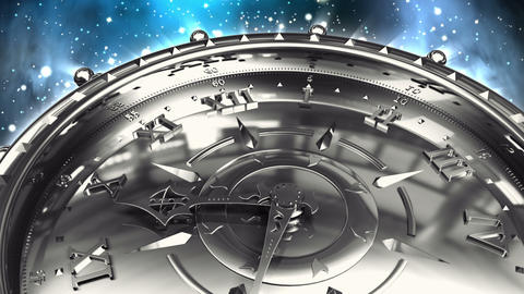Silver Clock and Spinning Galaxy Animation