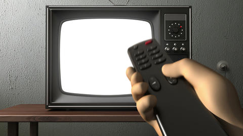 old TV. switching channels Animation