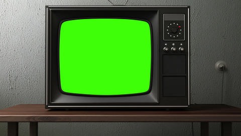 old TV. switching channels Stock Video Footage