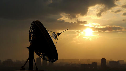 rotating radio telescope at sunset Animation