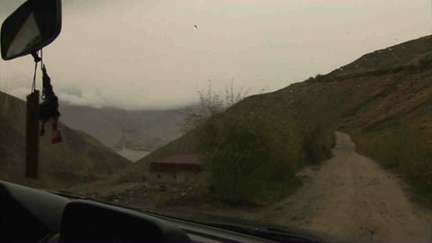Driving in Wakhan Valley Rain Tajikistan Stock Video Footage