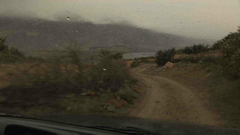 Driving in Wakhan Valley Rain Tajikistan 3 Stock Video Footage