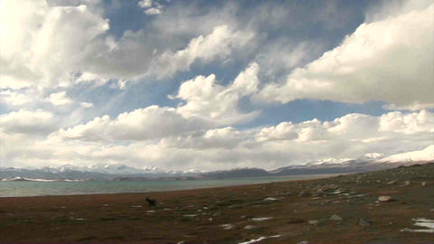 Pan View on Karakul Lake Tajikistan Footage
