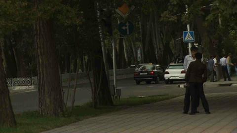 Roadside View Locals Dushanbe Tajikistan Stock Video Footage