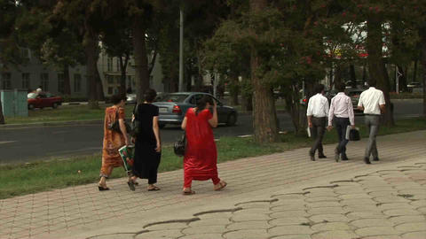 Roadside View Locals Dushanbe Tajikistan 3 Stock Video Footage