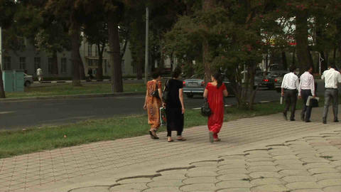 Roadside View Locals Dushanbe Tajikistan 3 Stock Video Footage